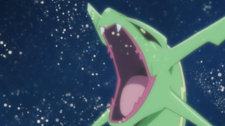 Rayquaza était surpris par le fait que les Pokémon mangeaient dans la série