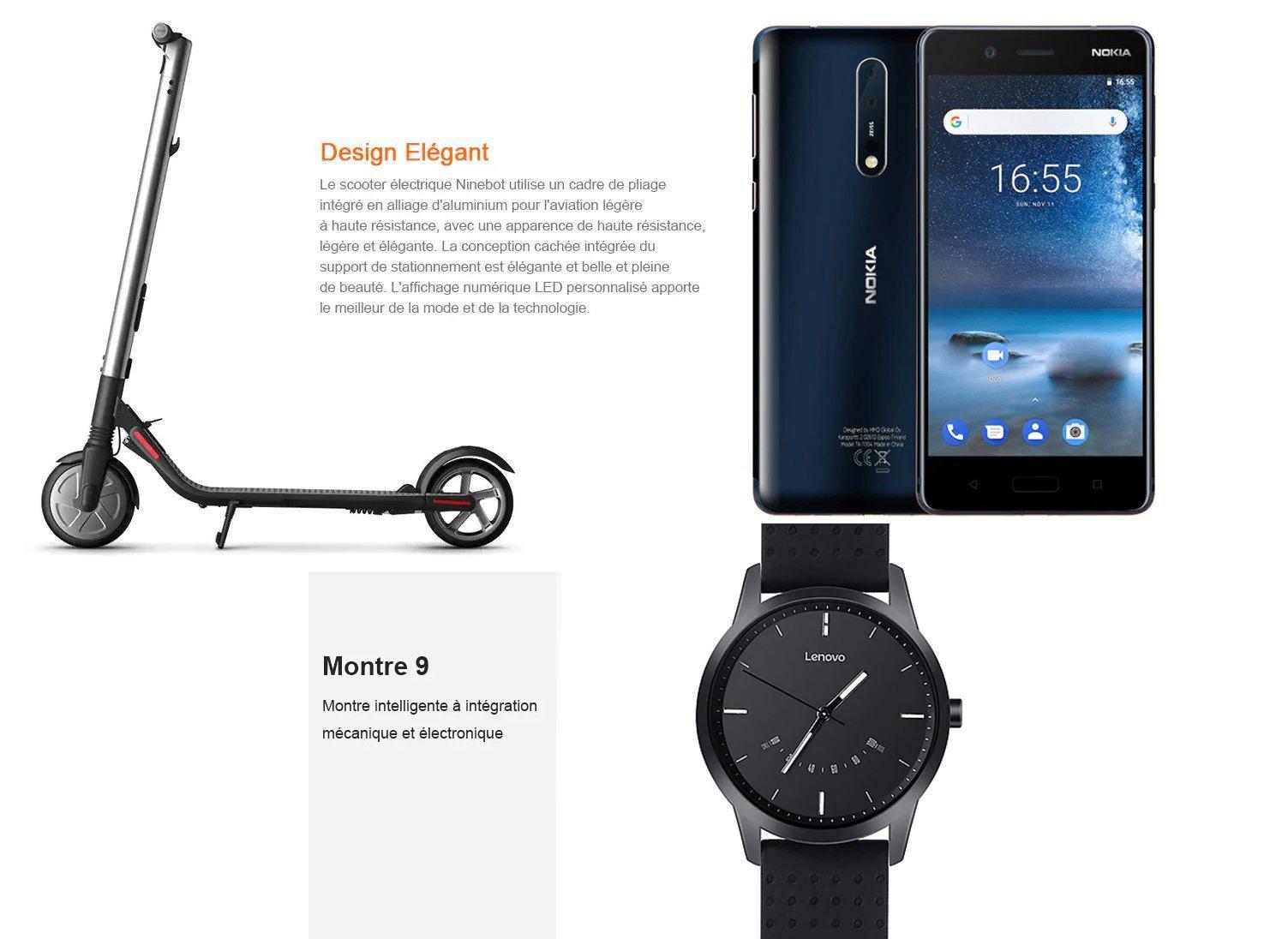 Bonne affaire: Nokia 8, Lenovo Watch 9 et Ninebot Segway ES2 Scooter