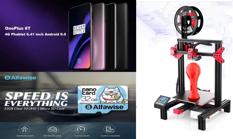 Forfaits: OnePlus 6T 128 Go à 469 euros, carte microSD 32 Go à moins de 4 euros et imprimante 3D Alfawise à partir de 30 à 155 euros